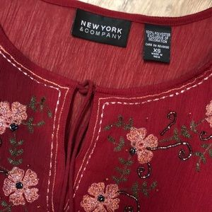 New York & Company Embroidered Blouse